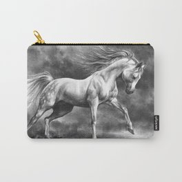 Running white horse - equine art Carry-All Pouch