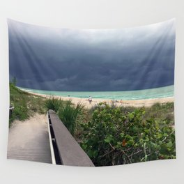 Stormy Sky, Aqua Sea Wall Tapestry