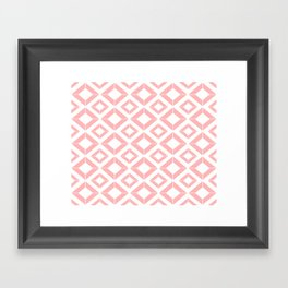 Abstract geometric pattern - pink and white. Framed Art Print