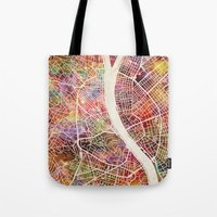 budapest Tote Bags featuring Budapest  by MapMapMaps.Watercolors