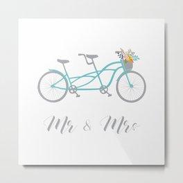 MR & Mrs Tandem Bike Blue Metal Print