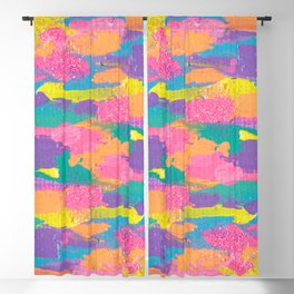 Lisa Frank Rainbow Abstract Painting with Glitter Blackout Curtain