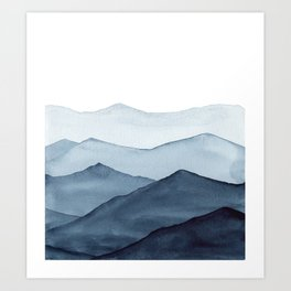 abstract watercolor mountains Art Print