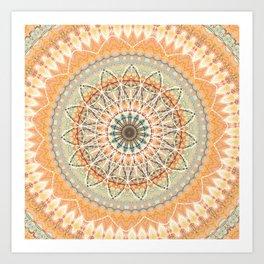 Pale Orange Mandala Art Print