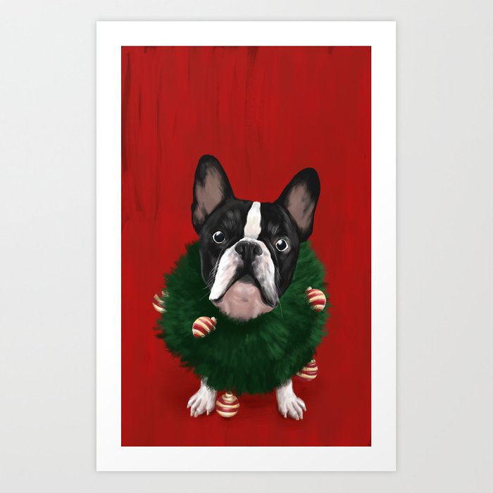 Christmas Bulldog Art Print