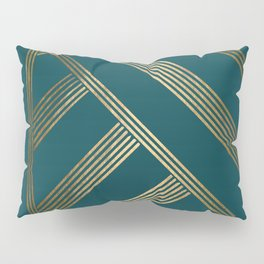 Art Deco Blurred Lines In Teal Pillow Sham