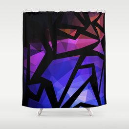 Abstract print of triangles polygon print. Bright dark design colors Shower Curtain