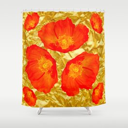GOLD FOIL SETTING FOR ORANGE POPPIES Shower Curtain