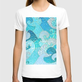 Mermaid Waves And Sea Faux Glitter - Sun Light Over The Ocean T-shirt