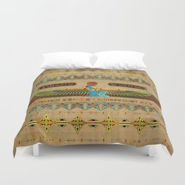 Egyptian Goddess Isis Ornament on papyrus Duvet Cover