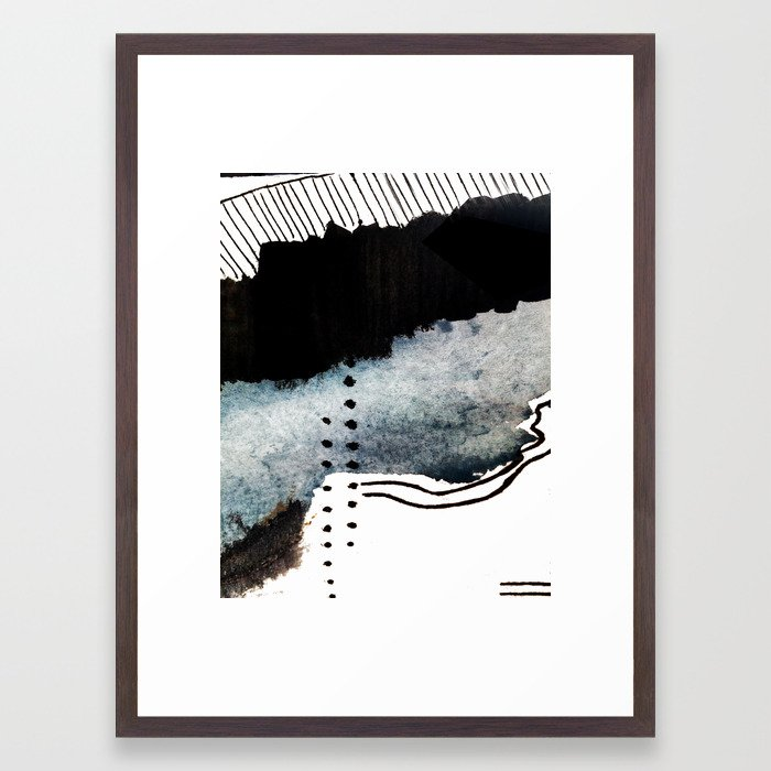 Closer - a black, blue, and white abstract piece Framed Art Print by ...