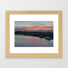 Acle river bure sunset Framed Art Print