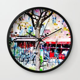Little Paris Cafe Watercolor Wall Clock