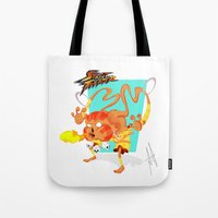 street fighter Tote Bags featuring STREET FIGHTER - DHALSIN by mirojunior