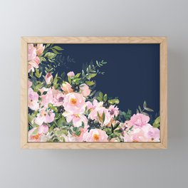 Boho, Floral Watercolor, Roses, Navy Blue and Pink Framed Mini Art Print