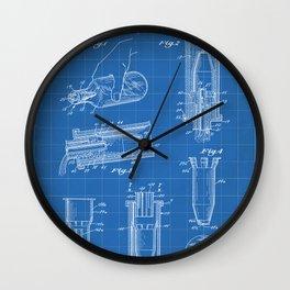 Whisky Pourer Patent - Whisky Art - Blueprint Wall Clock