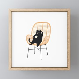 Lazy cat 2 enjoying coffee on rattan chair  Framed Mini Art Print