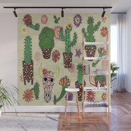 mosaic cactus plant pots Wall Mural