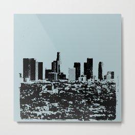 Downtown Los Angeles Skyline - Stamp Pattern on Light Blue Metal Print