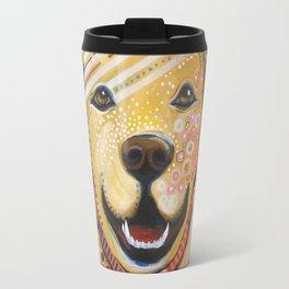 Max ... Abstract dog art, Golden Retriever, Original animal painting Travel Mug
