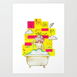 Bath Tub Post-it Art Print