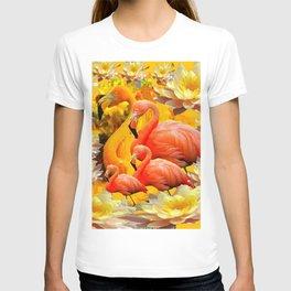 YELLOW WATER LILIES & SAFFRON FLAMINGOS T-shirt
