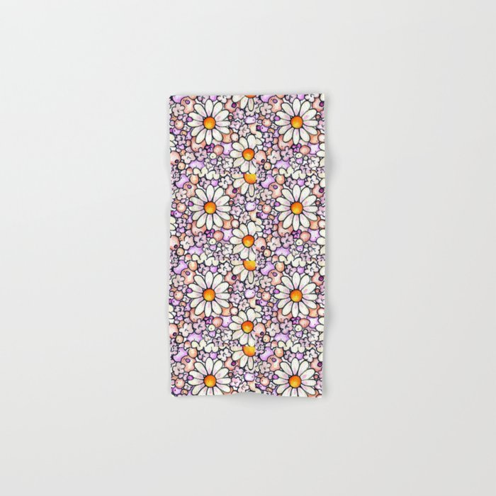 Large Blush Daisies Tiled Hand & Bath Towel