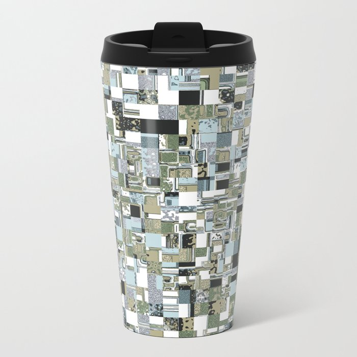 Geometric Grid of Textures Travel Mug