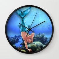 derek hale Wall Clocks featuring Merman Derek by Amy Mancini