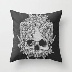 Japanese Skull Throw Pillow