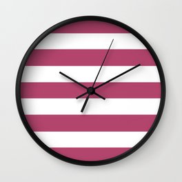 Raspberry rose -  solid color - white stripes pattern Wall Clock