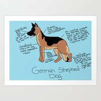 german shepherd Art Prints featuring German Shepherd by Lindsay Beth