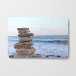 Rock pile at the beach Metal Print