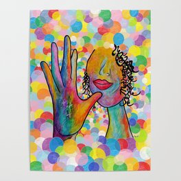 ASL for MOTHER on a Bright Bubble Background Poster