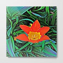 Flower of Enchanted Orange Flow Metal Print