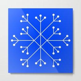 Mod Snowflake Blue Metal Print
