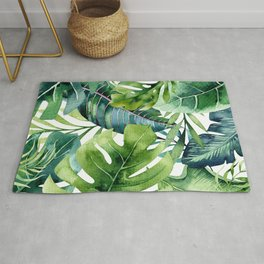 Tropical Jungle Leaves Rug