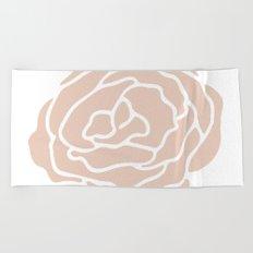 Rose in Vintage Rose Pink on White Beach Towel