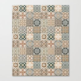 N49 - Oriental Traditional Moroccan Farmhouse Style Texture Artwork. Canvas Print