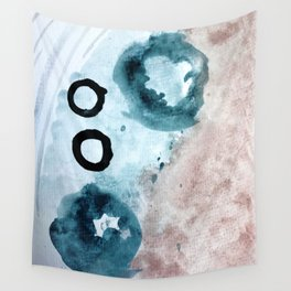 Space: a minimal watecolor piece in blue, pink, and black Wall Tapestry