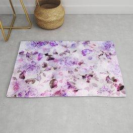 Shabby vintage lavender violet watercolor floral Rug