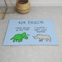 404 Error (Triceratops and Rhino) Rug