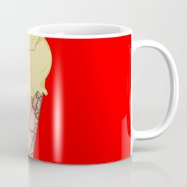 A Vanilla Ice Cream in a Cone with a Red Background Coffee Mug