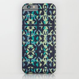 Colourful Wavy Leaves Pattern - Navy Blue, Lime Yellow & Turquoise by artestreestudio iPhone Case