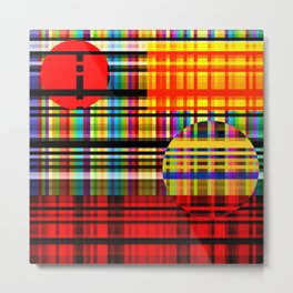 2 moon land of plaid Metal Print