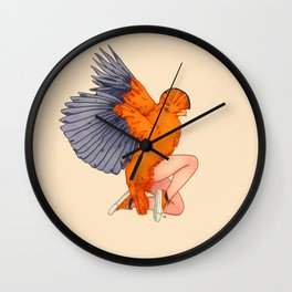 Orange coq-de-roche Wall Clock