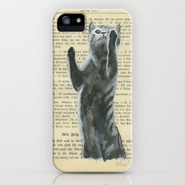 grey cat on the old page of book iPhone Case