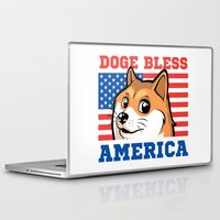 doge Laptop & iPad Skins featuring Doge Bless America by Tabner's