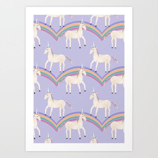 Unicorn Pattern on Pastel Purple Art Print
