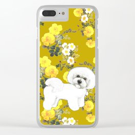 Bichon Frise on Mustard with yellow fall roses Clear iPhone Case